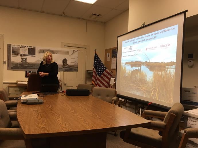 Photo of Colette Santasieri presenting resilience study to Greenwich citizens
