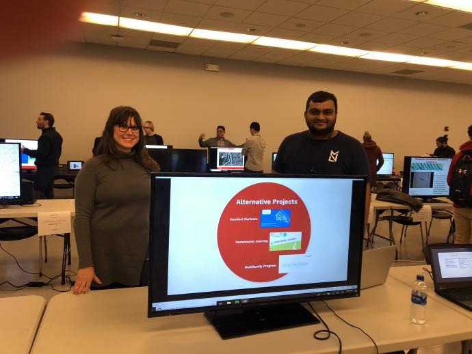 Terra Meierdierck and Nilay Panchal represent the Center at the 2019 NJIT Research Institutes, Centers and Laboratories Showcase.